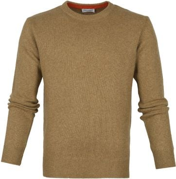 Suitable Fine Lambswool 7g Pullover O-Neck Brown