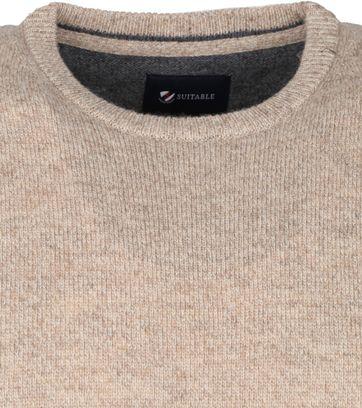 Suitable Fine Lambswool 9 gauge Pullover O-Neck Beige