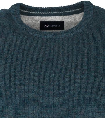 Suitable Fine Lambswool 9 gauge Pullover O-Neck Dark Green