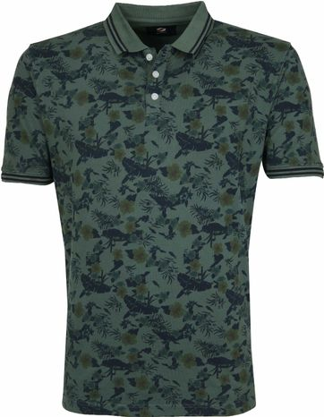 Suitable Flip Flower Poloshirt Dark Green