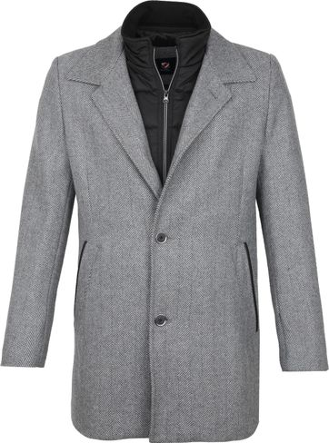 Suitable Geke Coat Herringbone Grijs