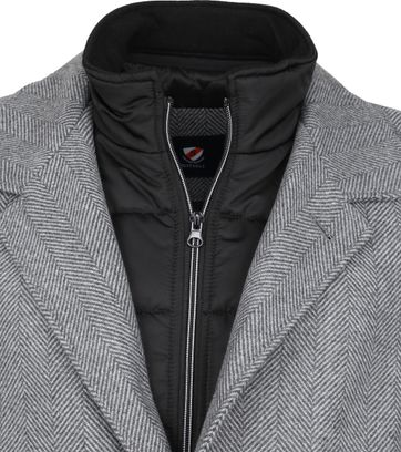 Suitable Geke Coat Herringbone Grijs