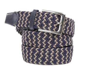Suitable Geweven Riem Navy Taupe