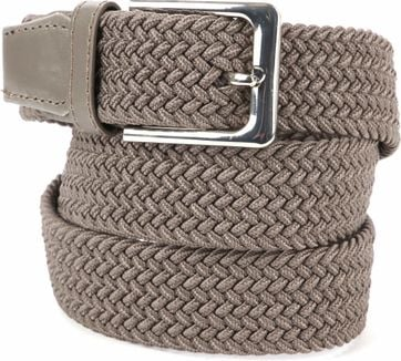 Suitable Geweven Riem Taupe Khaki