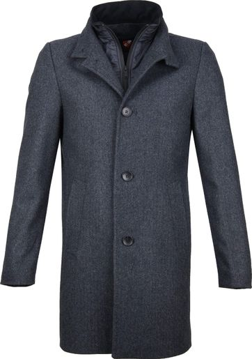 Suitable Hamburg Coat Herringbone Dunkelblau