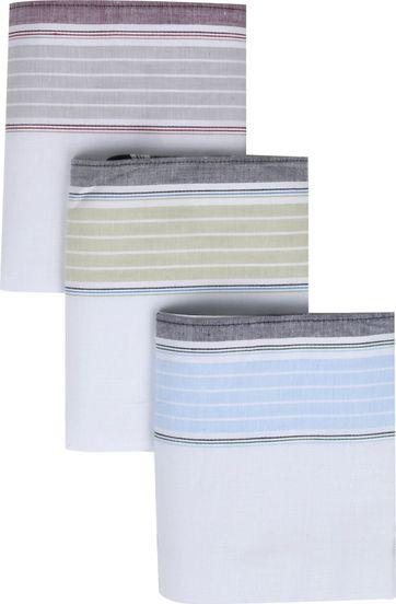 Suitable Handkerchief Set White Stripes