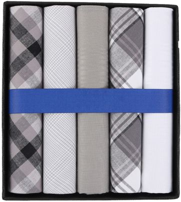 Suitable Handkerchiefs White Grey Checkered