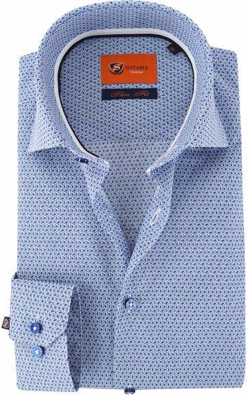 Suitable Hemd Blau Grafik