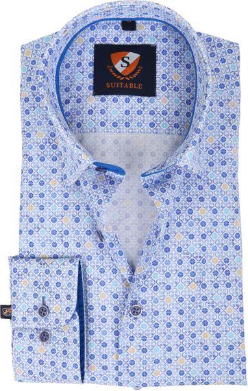 Suitable Hemd Blauw Dessin 181-4