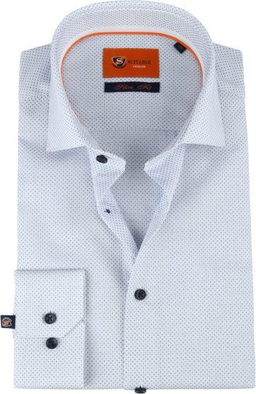 Suitable Hemd Blauw Plusteken Slim Fit