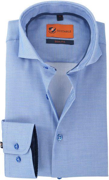 Suitable Hemd Blauw Print 146-2