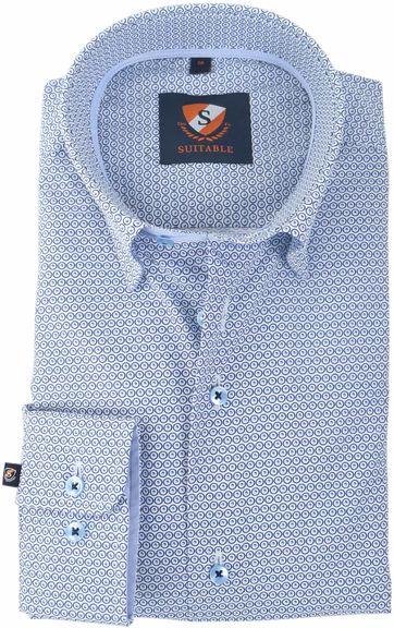 Suitable Hemd Blauw Print 147-1