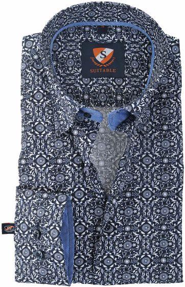 Suitable Hemd Donkerblauw Print 147-4