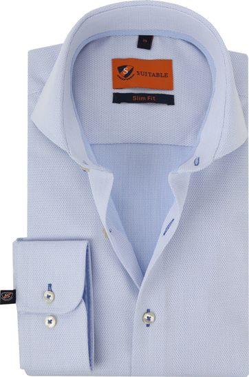 Suitable Hemd Faux Check Blauw