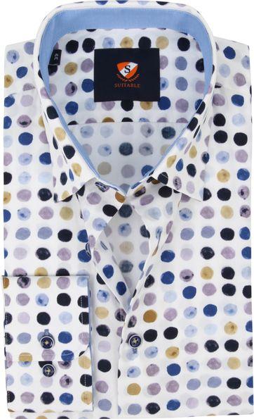 Suitable Hemd Glühbirnen Blau Beige