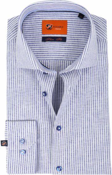 Suitable Hemd Leinen Blau D81-14