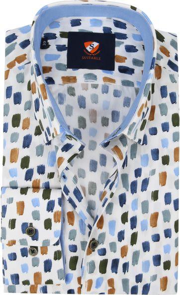 Suitable Hemd Pinselstriche Blau Braun