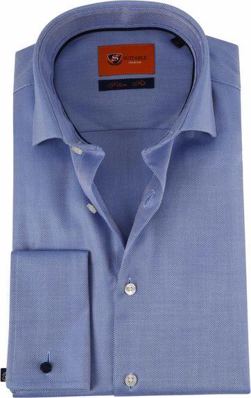 Suitable Hemd SF Herringbone Blue