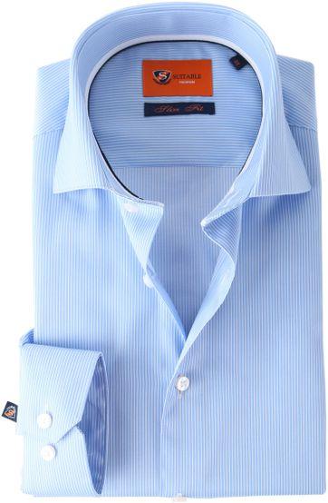 Suitable Hemd Stripe Blue Adam
