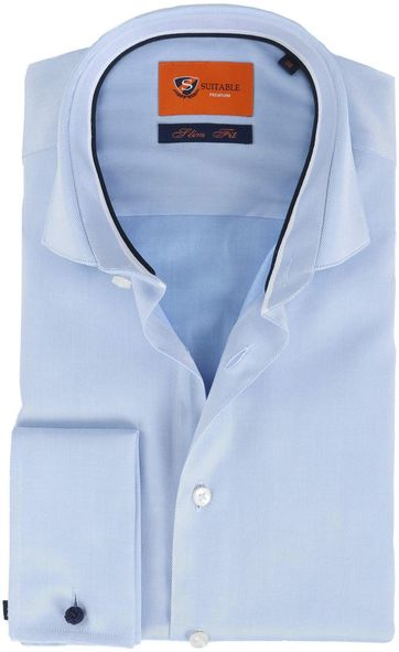 Suitable Hemd Twill Blue Doppel Cuff