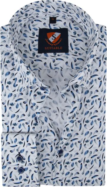 Suitable Hemd Veren Blauw