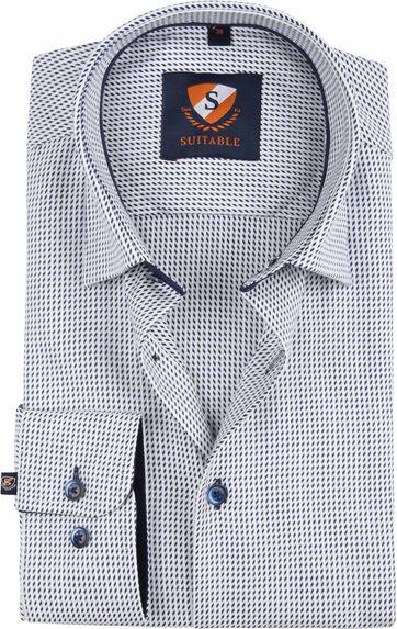 Suitable Hemd Weiß Dessin 188-2
