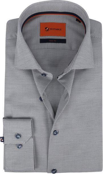 Suitable Hemd WS Punkte Dunkel Weiß