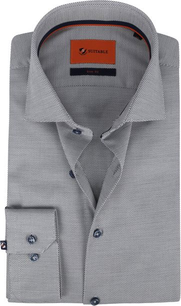 Suitable Hemd WS Stippen Donker Wit