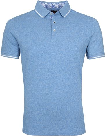 Suitable Jaspe Yarn Poloshirt Blue