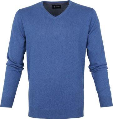 Suitable Katoen Vini Pullover V-Hals Blauw