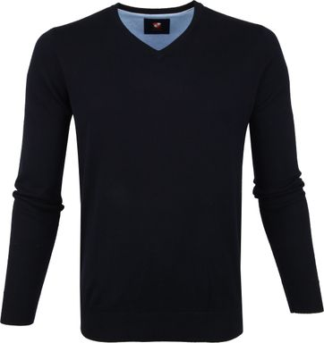 Suitable Katoen Vini Pullover V-neck Navy