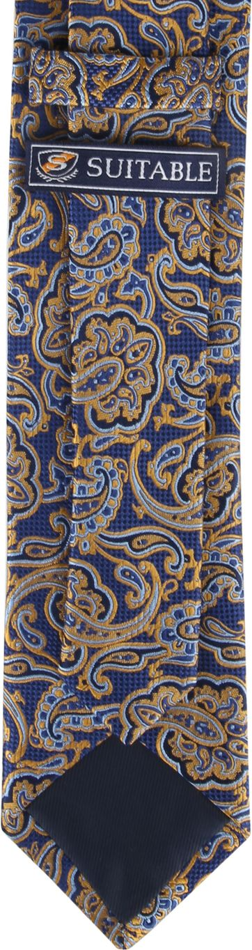 Suitable Krawatte Paisley Navy Gold