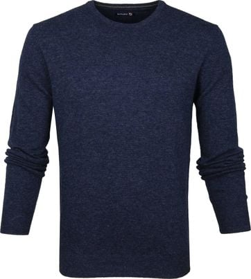 Suitable Lambswool Pullover O-Neck Dark Blue