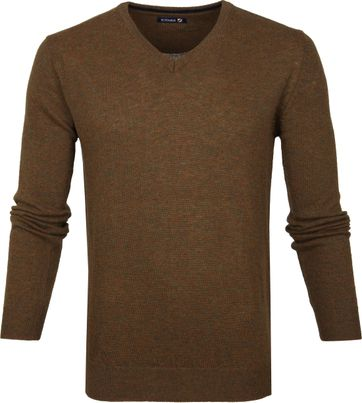 Suitable Lambswool Pullover V-Neck Brown