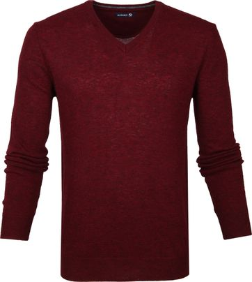 Suitable Lambswool Pullover V-Neck Burgundy