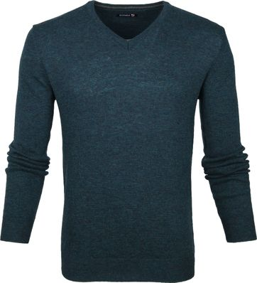 Suitable Lambswool Pullover V-Neck Green
