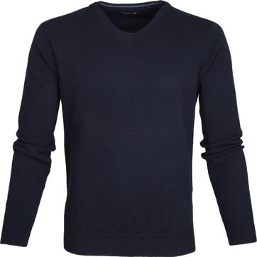 Suitable Lambswool Pullover V-Neck Navy