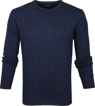 Suitable Lamswol Pullover O-Hals Donkerblauw
