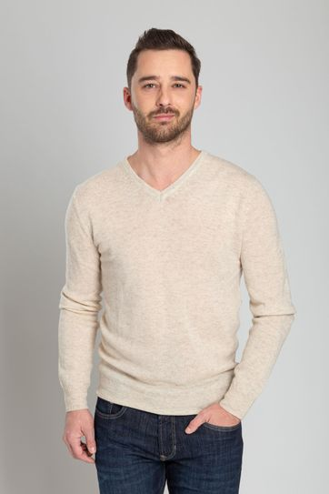 Suitable Lamswol Pullover V-Hals Beige
