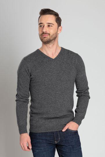 Suitable Lamswol Pullover V-Hals Grijs