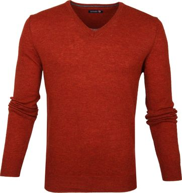 Suitable Lamswol Pullover V-Hals Oranje
