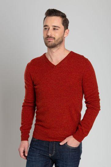 Suitable Lamswol Pullover V-Hals Oranje