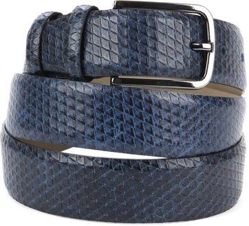 Suitable Leather Belt Dark Blue