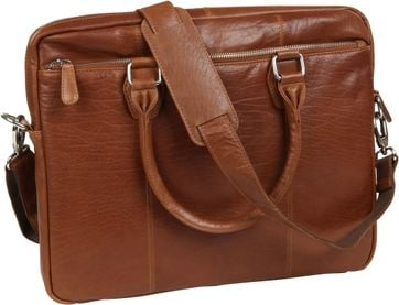 4d2e63e01dc Suitable Leather Laptop Bag 17 Inch Cognac 5205 Laptop Tas Tan order online  | Suitable