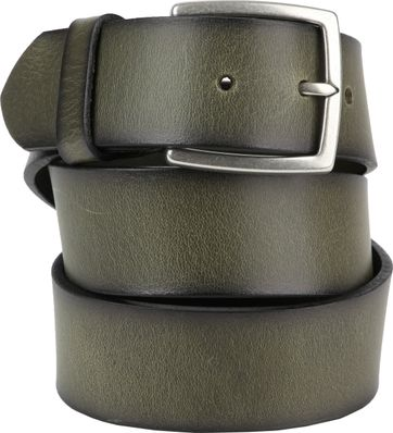 Suitable Leren Riem Groen Washed