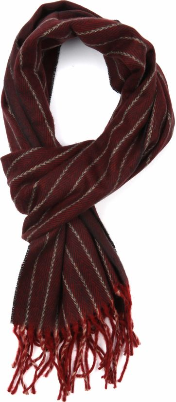 Suitable Men's Scarf Bordeaux Stripes 18-01