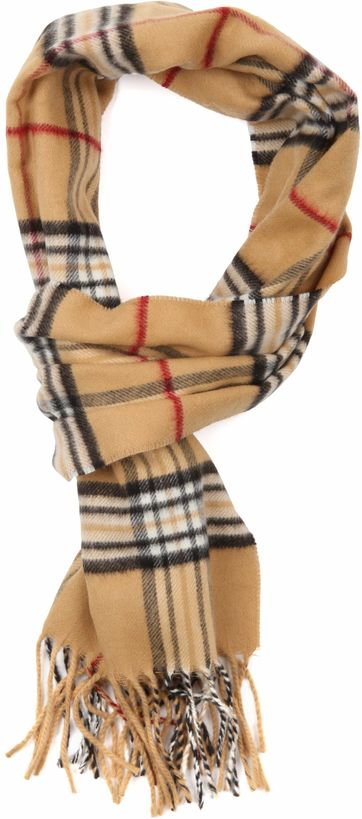 Suitable Men's Scarf Camel Checkered 18-18