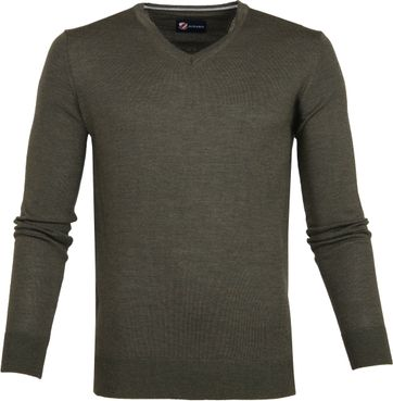 Suitable Merino Pullover Donkergroen