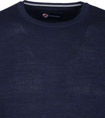 Suitable Merino Pullover O-Ausschnitt Dunkelblau