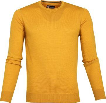 Suitable Merino Pullover O-Ausschnitt Ockergelb